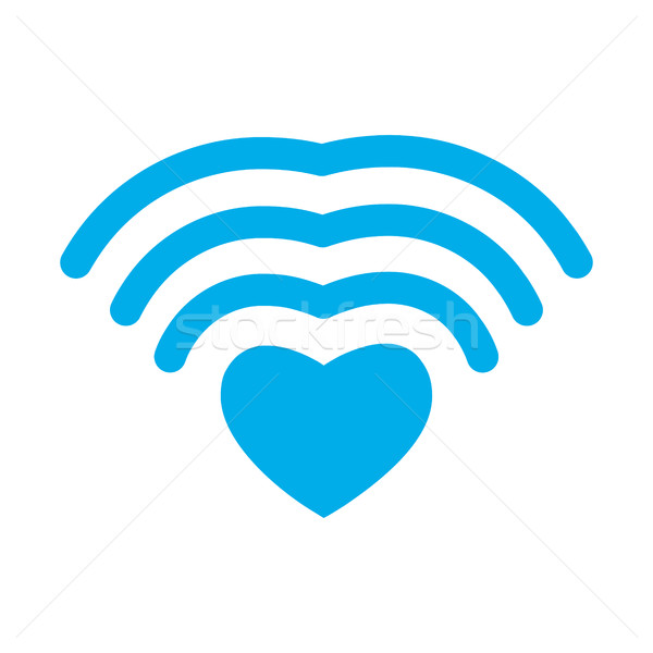 Wi-fi love. WiFi heart. Wireless communication for lovers. roman Stock photo © popaukropa