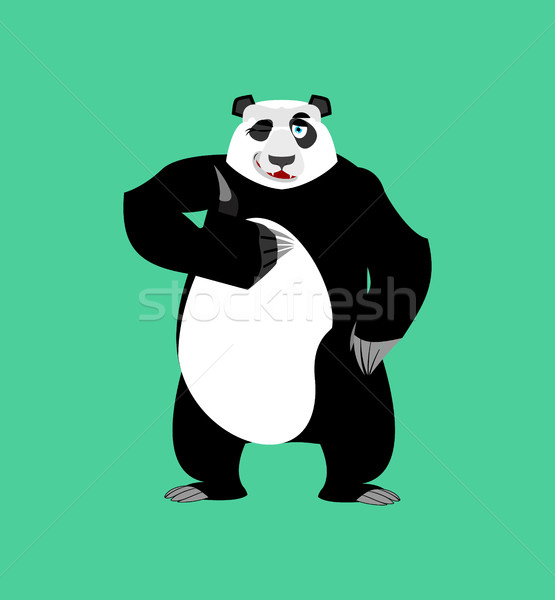 Panda winking Emoji. Chinese bear happy emotion isolated Stock photo © popaukropa