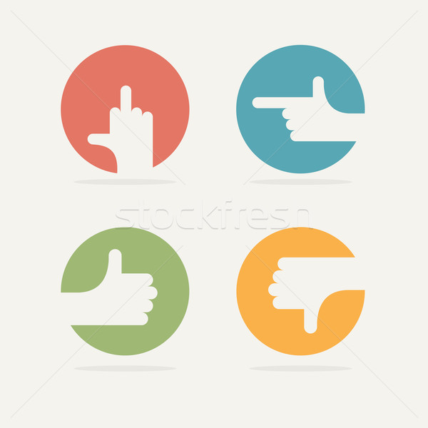 Set Icon hand gestures: fuck, good, bad, left. Vector illustrati Stock photo © popaukropa
