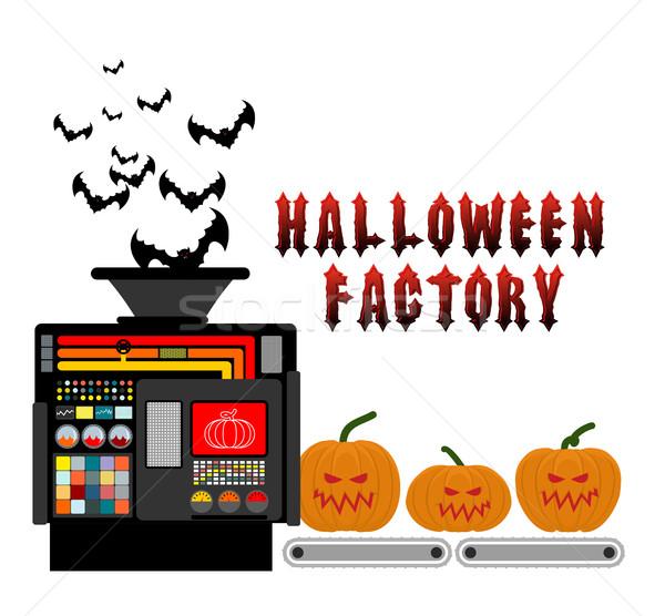 Halloween fábrica dispositivo fabrico assustador abóbora Foto stock © popaukropa