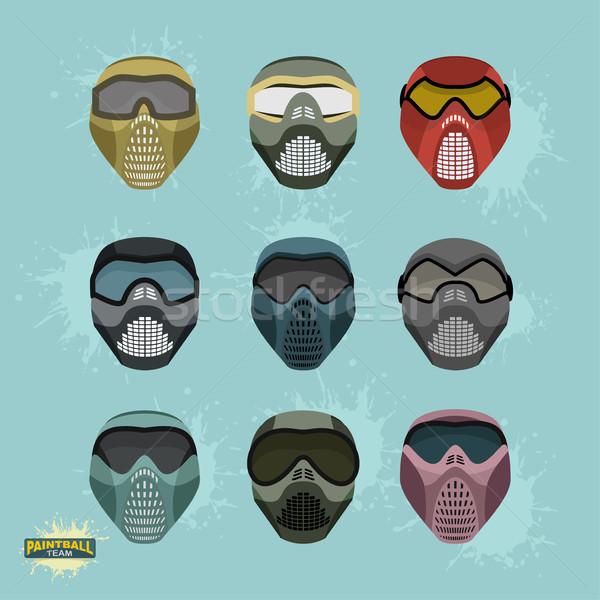 Paintball protección máscara establecer diseno fondo Foto stock © popaukropa