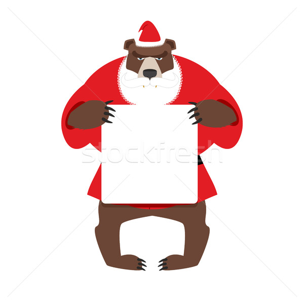 Santa bear keep clean banner with space for text. Wild animal wi Stock photo © popaukropa