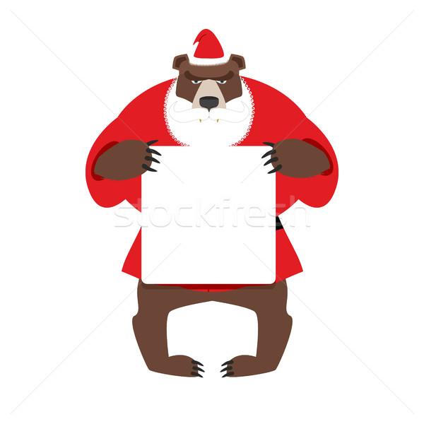 ストックフォト: サンタクロース · クマ · クリーン · バナー · スペース · 文字