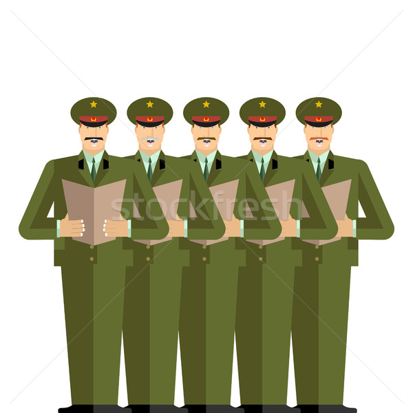 Military Choir. Officers sing songs. war band. Army musicians Stock photo © popaukropa