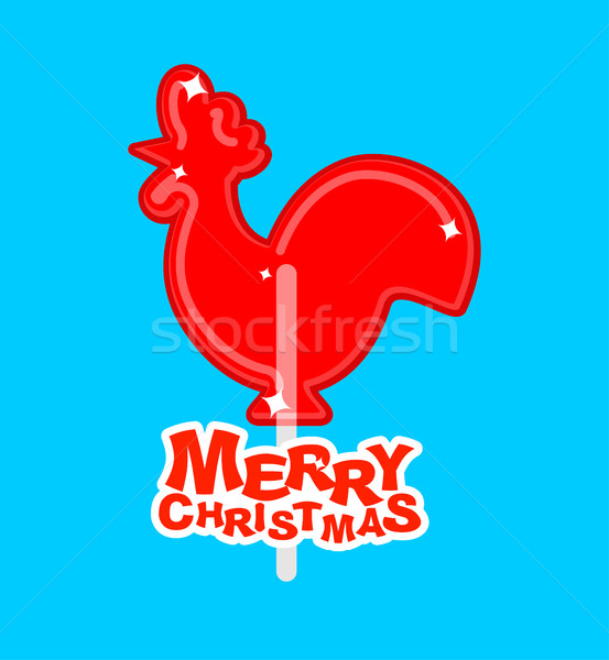 Cockerel candy Merry Christmas. Caramel on stick. Russian tradit Stock photo © popaukropa