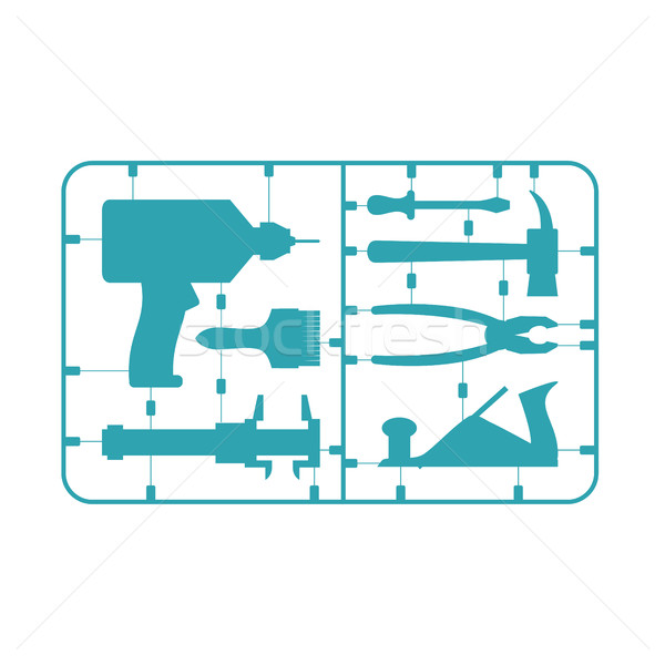 Tools Set. Plastic Model kit. Drill and hammer. Caliper and plie Stock photo © popaukropa