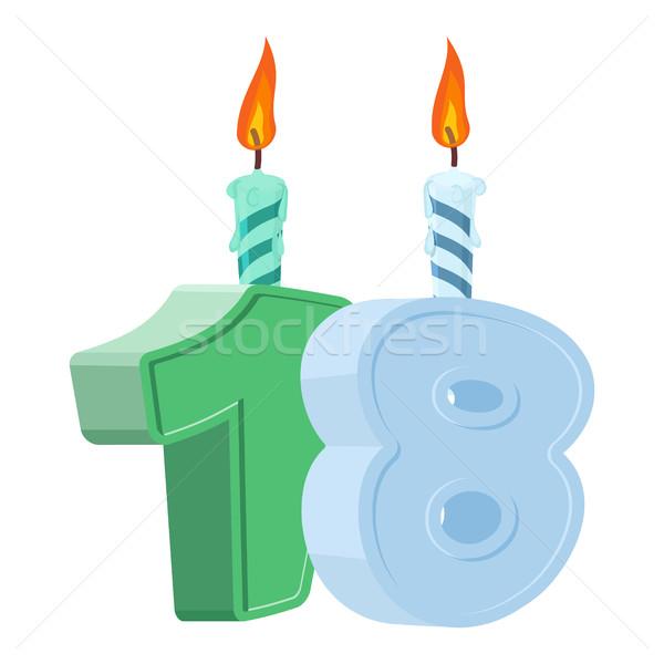 18 rok urodziny numer Świeca Zdjęcia stock © popaukropa