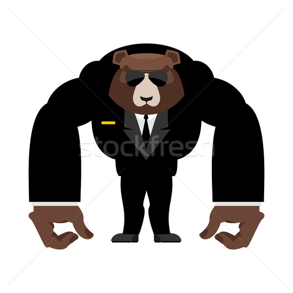 Bear bodyguard in black suit. Strong Grizzly guard Stock photo © popaukropa