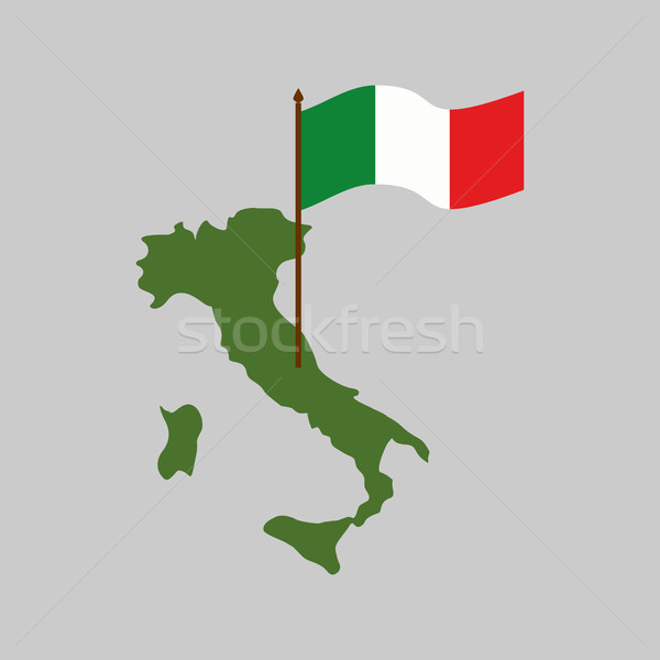 Italy map and flag. Geography Italian state isolated Stock photo © popaukropa