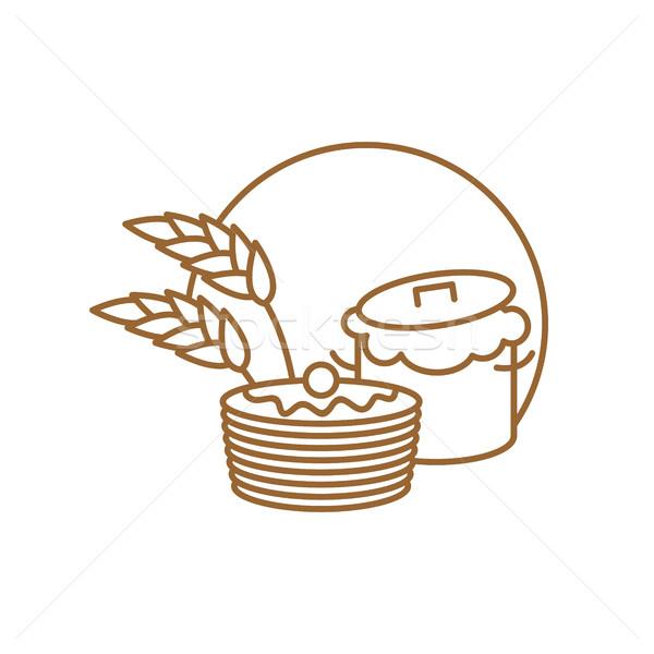 Rondel naleśniki line podpisania symbol piekarni Zdjęcia stock © popaukropa