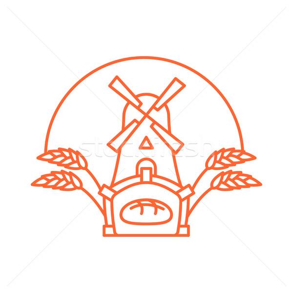 Panetteria logo lineare stile store pane Foto d'archivio © popaukropa