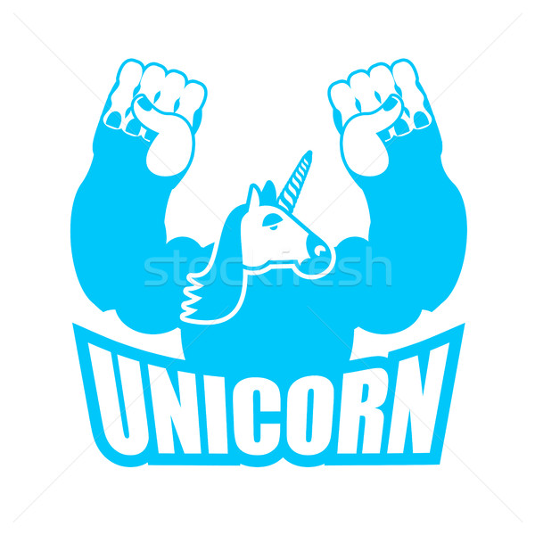 Unicorn is strong and angry. Powerful and Aggressive magic monst Stock photo © popaukropa