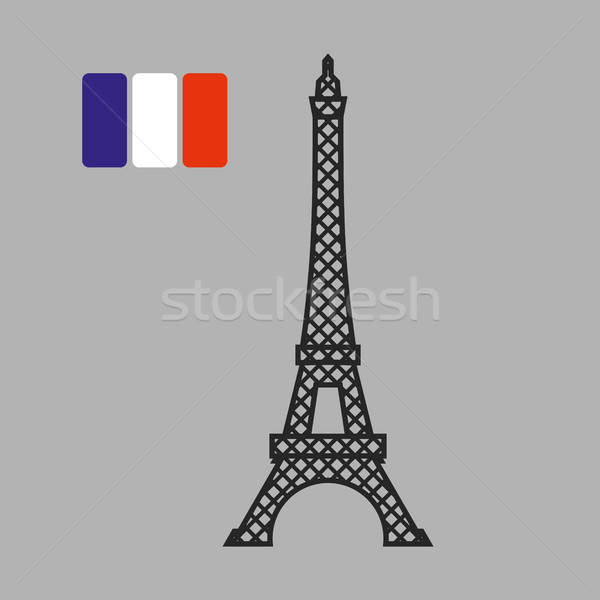 Eiffel Tower. Attraction of Paris. Vector illustration. Fflag of Stock photo © popaukropa