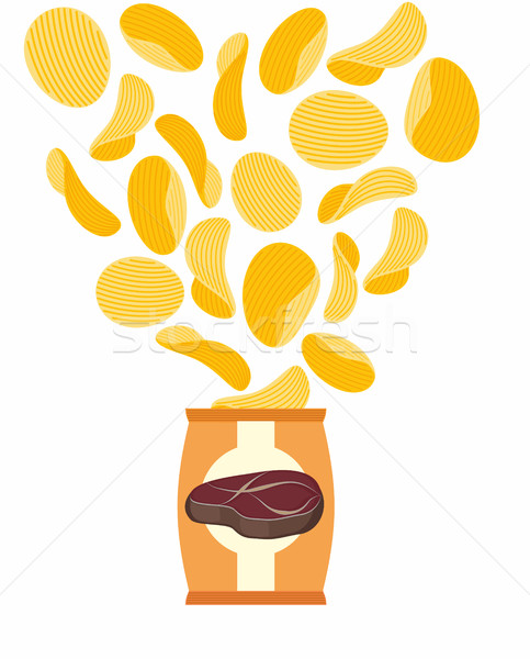Potato chips with taste of fried steak. Packing chips and flying Stock photo © popaukropa