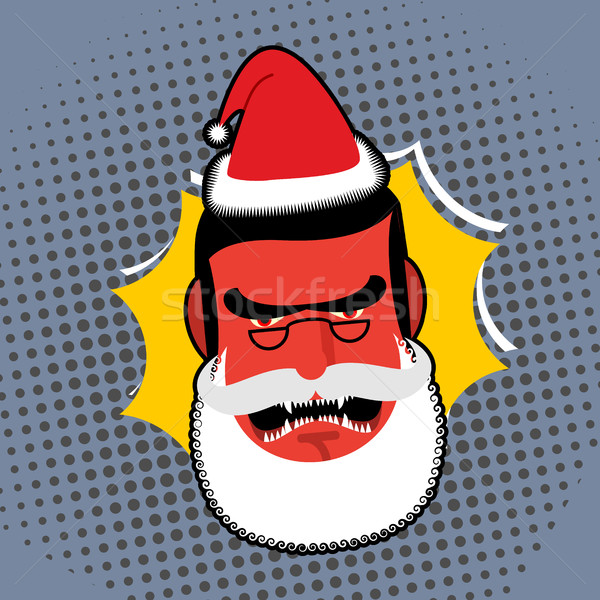 Evil Angry Santa Claus. Red with anger person Swears and shouts. Stock photo © popaukropa
