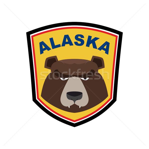 Alaszka grizzly kabala medve embléma felirat Stock fotó © popaukropa