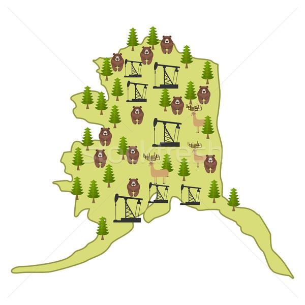 Geïsoleerd eland beer bos booreiland kaart Stockfoto © popaukropa