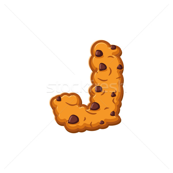 J letter cookies. Cookie font. Oatmeal biscuit alphabet symbol.  Stock photo © popaukropa