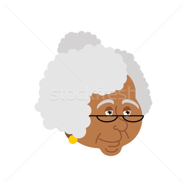 Büyükanne portre Yaşlı kadın yüz iso yalıtılmış Stok fotoğraf © popaukropa