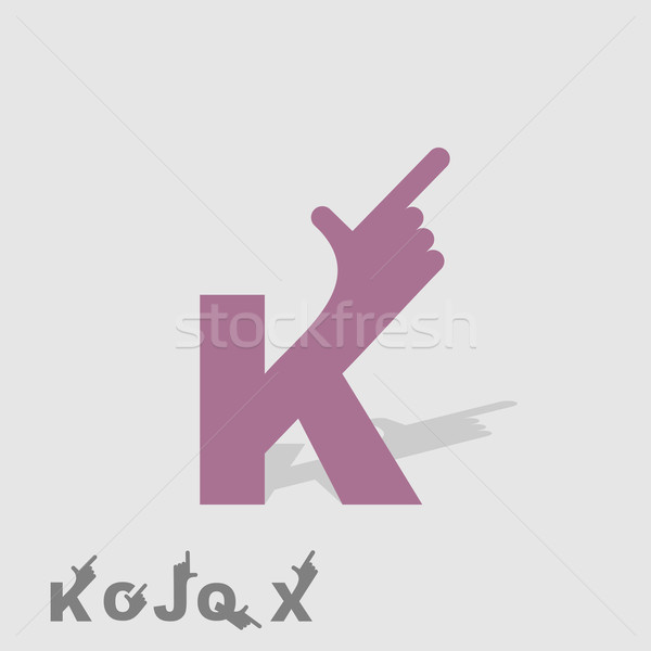 Letter K. Logo letters with a hand. Finger pointing. Letter of a Stock photo © popaukropa