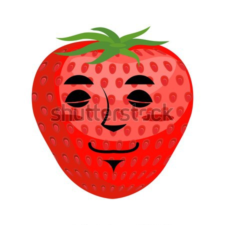 Stock photo: Ripe Strawberry skull. Red head skeleton with texture of berries