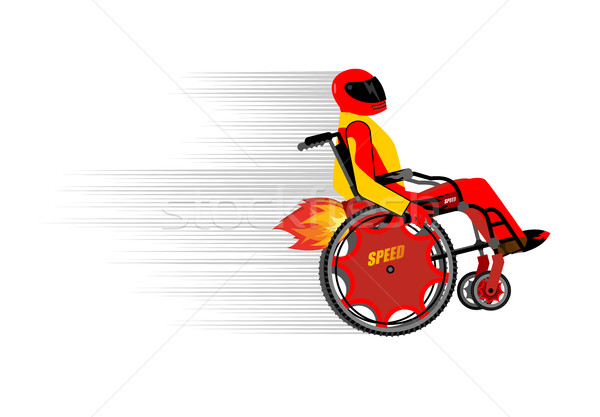 Disabled person in wheelchair wit turbo engine. Speed riding to  Stock photo © popaukropa