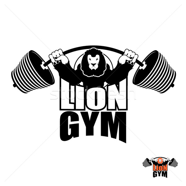 Lion Gym Logo. Angry leo strong athlete. Barbell and Aggressive  Stock photo © popaukropa
