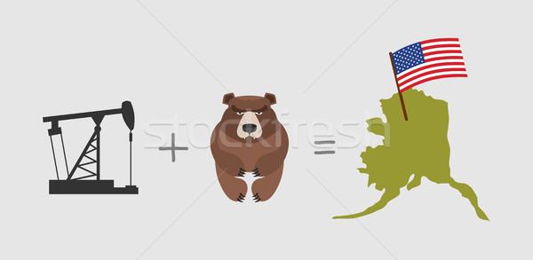 Oil rig and  bear. Symbols of Alaska. American flag. Vector illu Stock photo © popaukropa