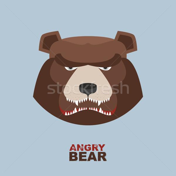 Angry bear head mascot. Bear head logo for Hockey Club Stock photo © popaukropa