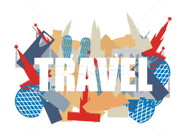 Travel. Text on background silhouettes attractions of countries. Stock photo © popaukropa