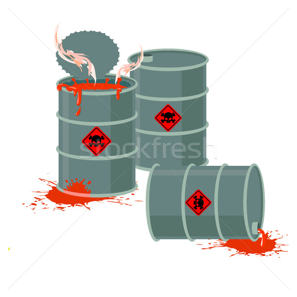 Barrels of Red acid. Hazardous chemical waste. Vector illustrati Stock photo © popaukropa