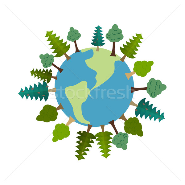 Earth and trees. Green Planet. Vegetation on land. Forest map. e Stock photo © popaukropa