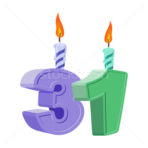 31 years birthday. Number with festive candle for holiday cake.  Stock photo © popaukropa