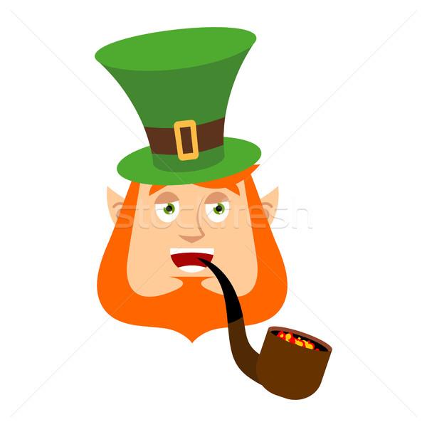 Leprechaun happy. Dwarf with red beard merry Emoji. Irish elf em Stock photo © popaukropa