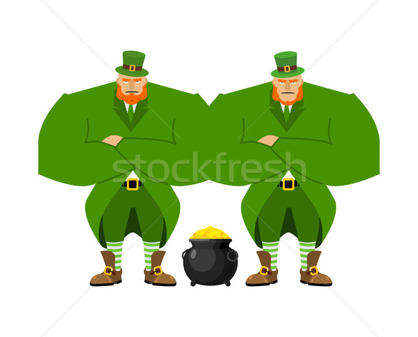 Leprechaun security bodyguard. Dwarf with red beard guarding pot Stock photo © popaukropa