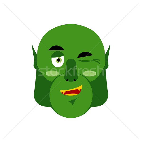 Stock photo: Ogre winking Emoji. Goblin happy emotion isolated. Green monster