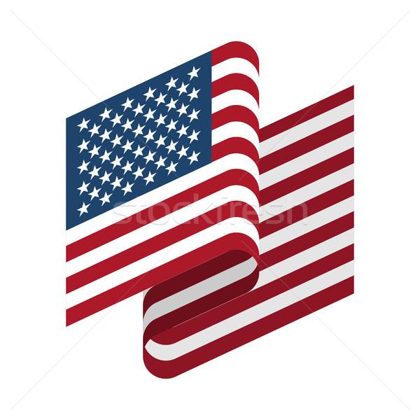 Amerika Birleşik Devletleri bayrak yalıtılmış Amerika şerit afiş Stok fotoğraf © popaukropa