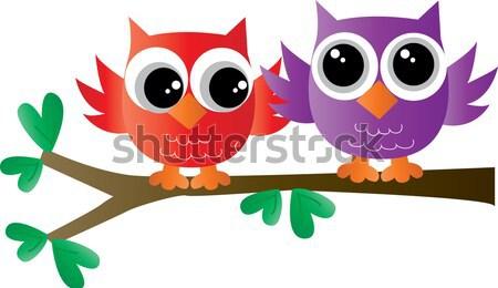 Coruja família flor árvore projeto lua Foto stock © popocorn