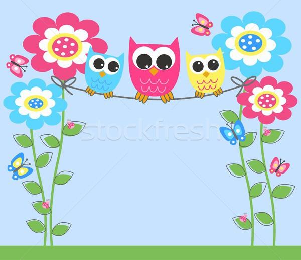 красочный Совы цветок аннотация дизайна синий Сток-фото © popocorn