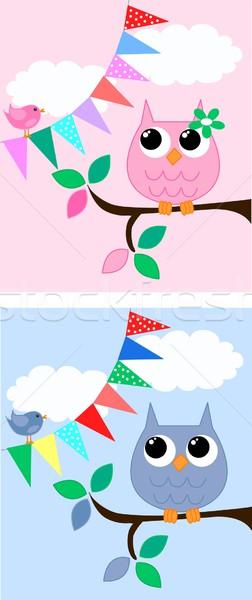 совы розовый синий семьи дерево природы Сток-фото © popocorn