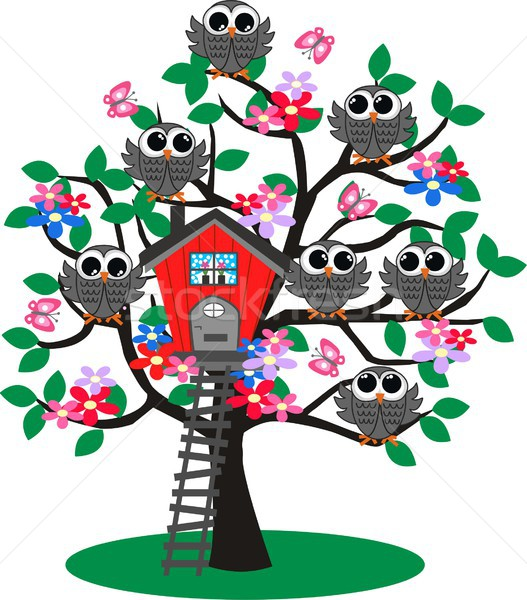 lot of owls in a tree Stock photo © popocorn