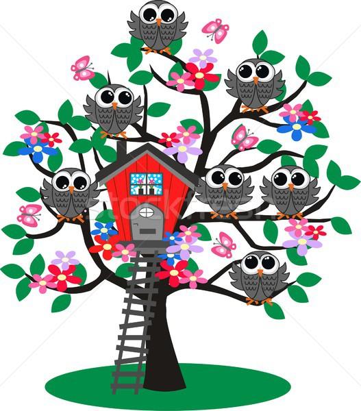Рисунок с деревом и совами