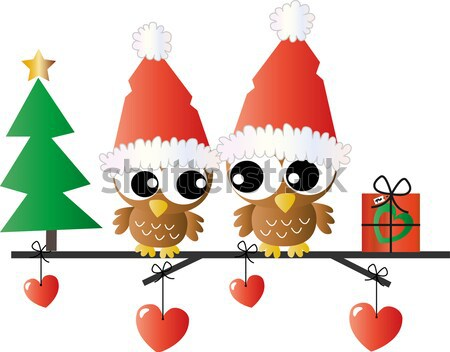 merry christmas owl family Stock photo © popocorn