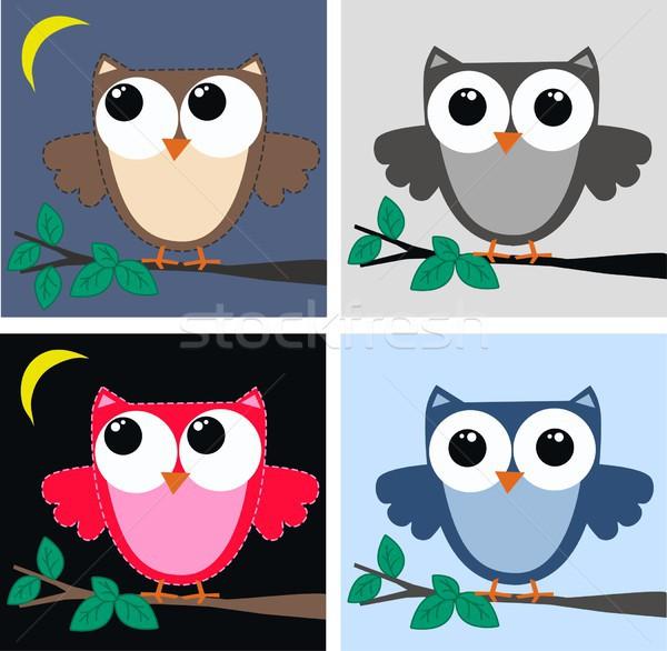 четыре различный совы шаблон дизайна фон Сток-фото © popocorn