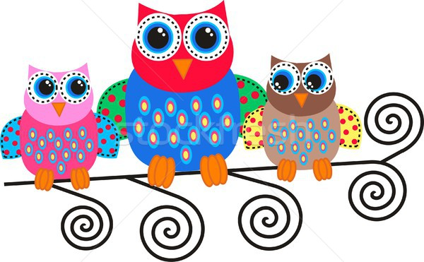 Three colorful owls  Stock photo © popocorn
