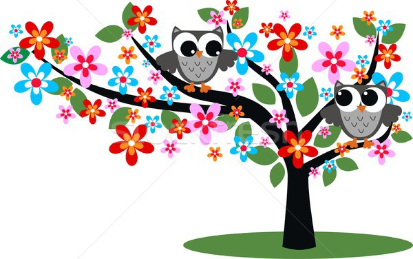 a sweet owl sitting in a tree full of flowers Stock photo © popocorn