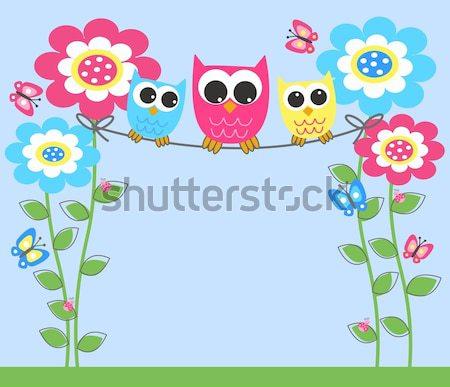 три Sweet Совы цветок семьи дерево Сток-фото © popocorn
