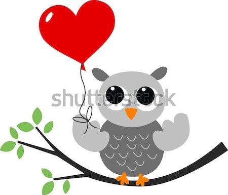 Sweet мало серый совы семьи дерево Сток-фото © popocorn