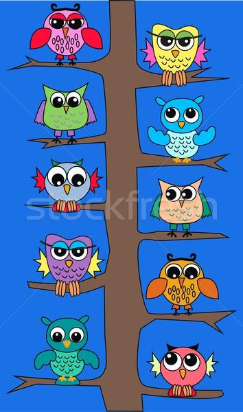 Uil boom natuur achtergrond vogel web Stockfoto © popocorn