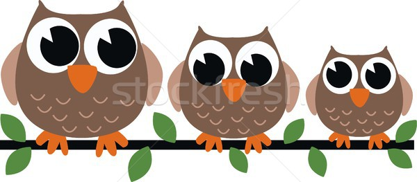 совы семьи цветок аннотация дизайна птица Сток-фото © popocorn